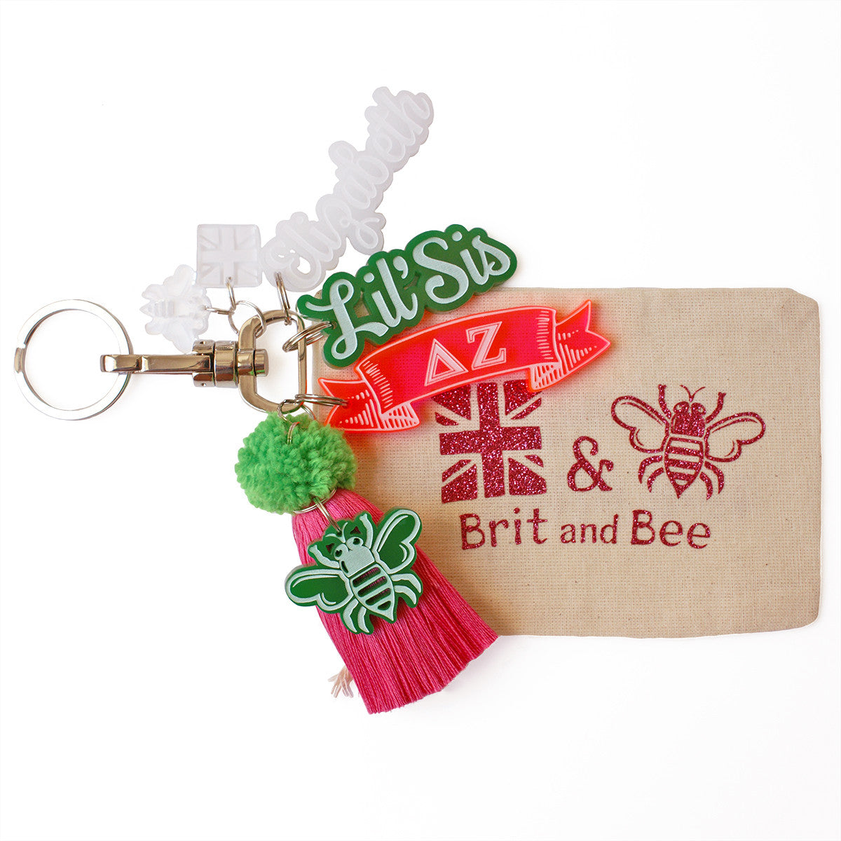 Brit and Bee Sorority PomPom Charm Keyring - Delta Zeta