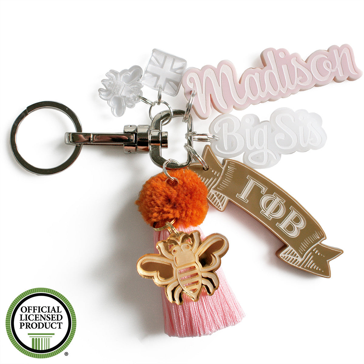 Brit and Bee Sorority PomPom Charm Keyring - Gamma Phi Beta