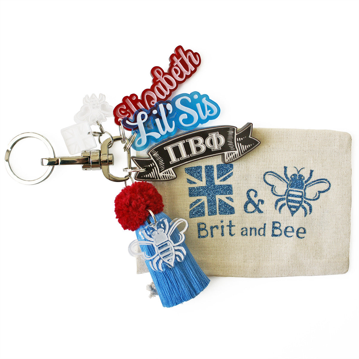 Brit and Bee Sorority PomPom Charm Keyring - Pi Beta Phi