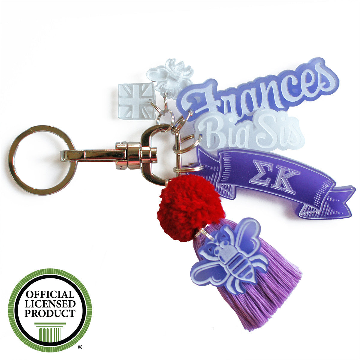 Brit and Bee Sorority PomPom Charm Keyring - Sigma Kappa