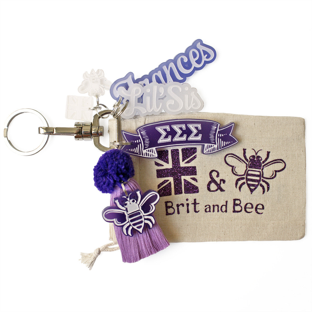 Brit and Bee Sorority PomPom Charm Keyring - Sigma Sigma Sigma