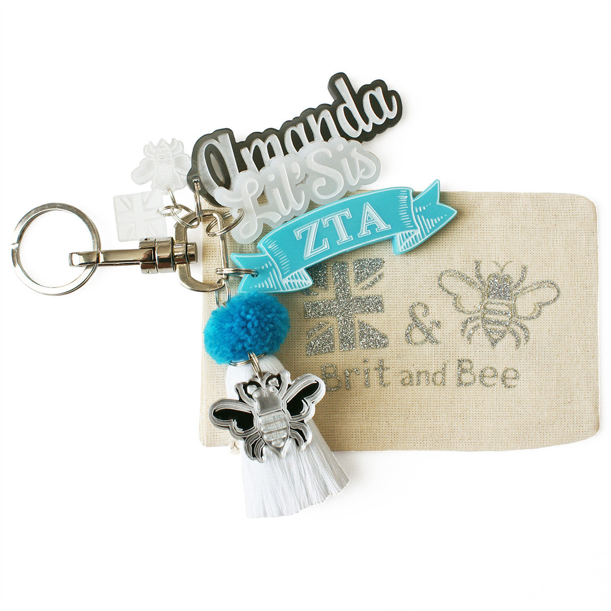 Brit and Bee Sorority PomPom Charm Keyring - Zeta Tau Alpha
