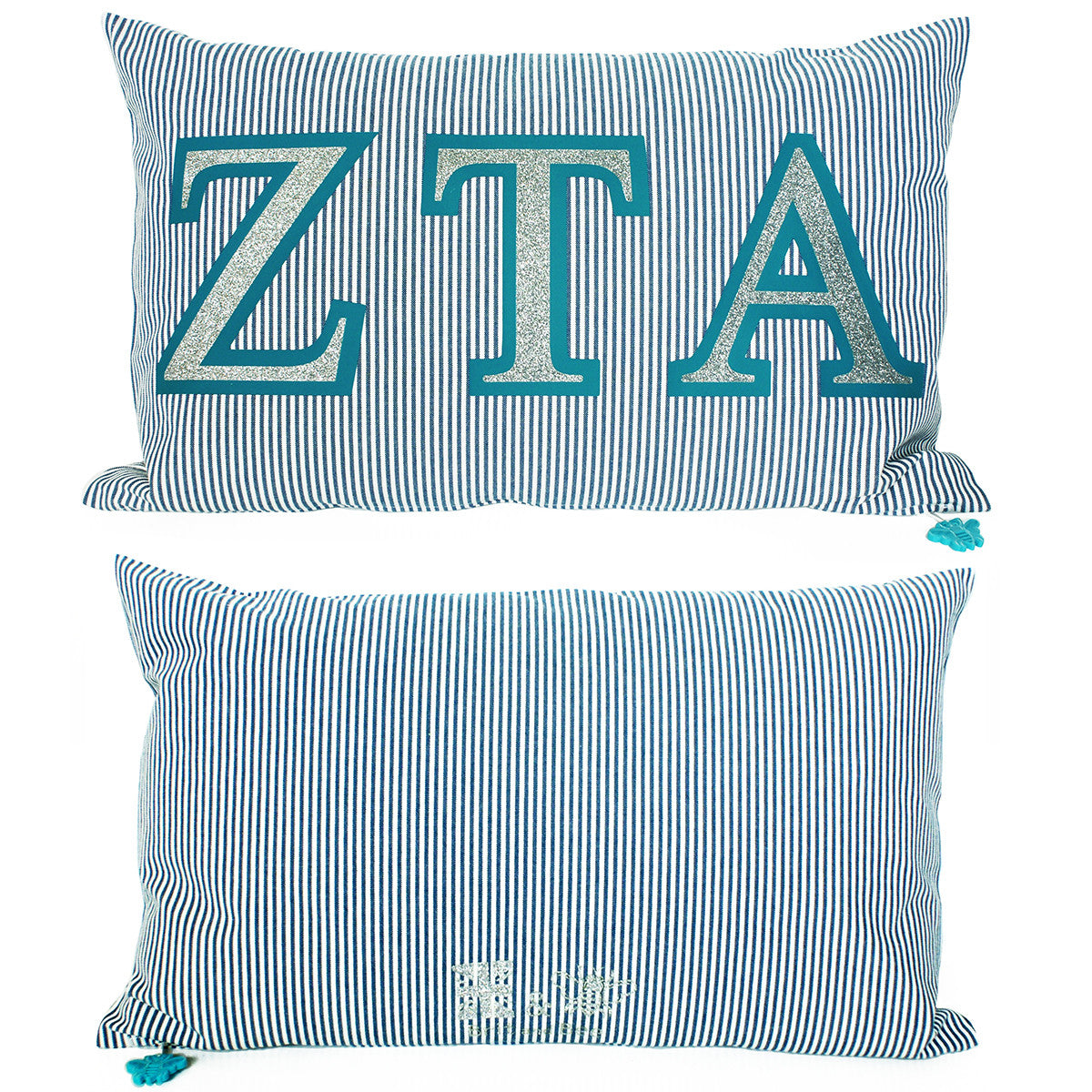 Brit and Bee Sorority Glitter Ticking Stripe Throw Pillow Zeta Tau Alpha