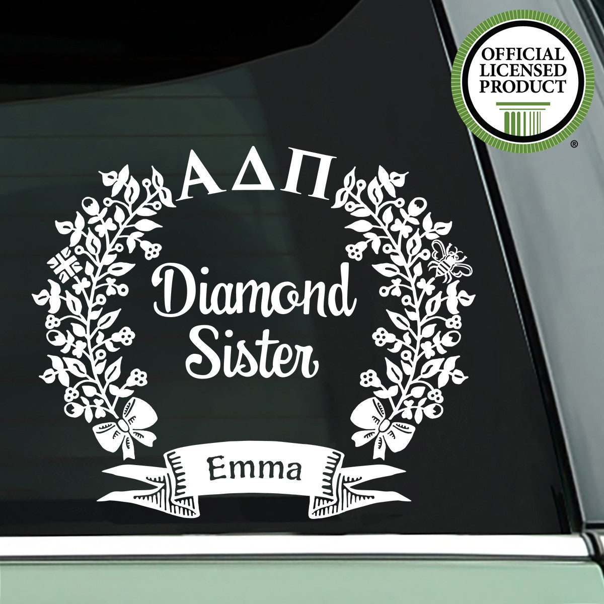 Brit and Bee Sorority Diamond Decal - Alpha Delta Pi - White
