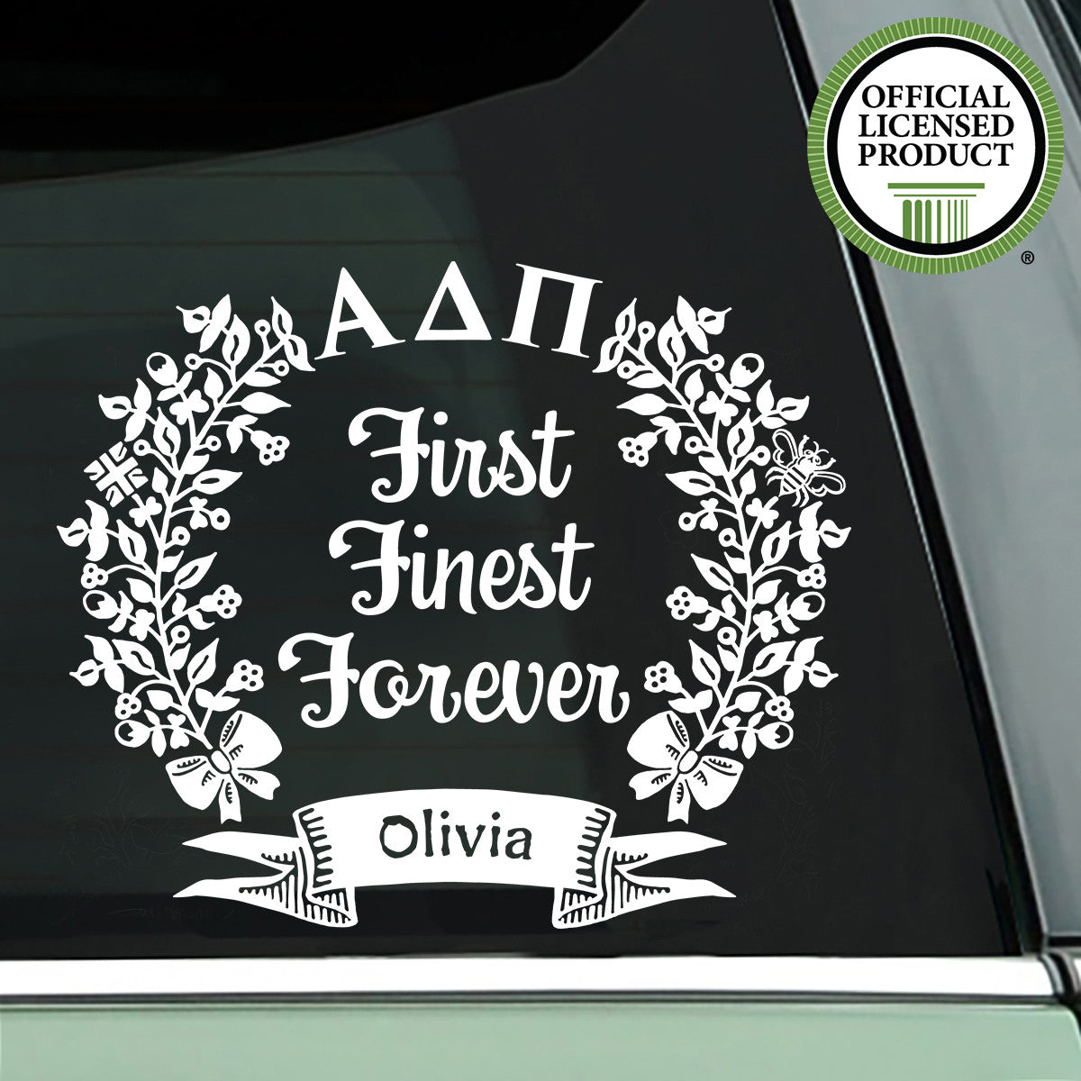Brit and Bee Sorority Motto Decal - Alpha Delta Pi - White