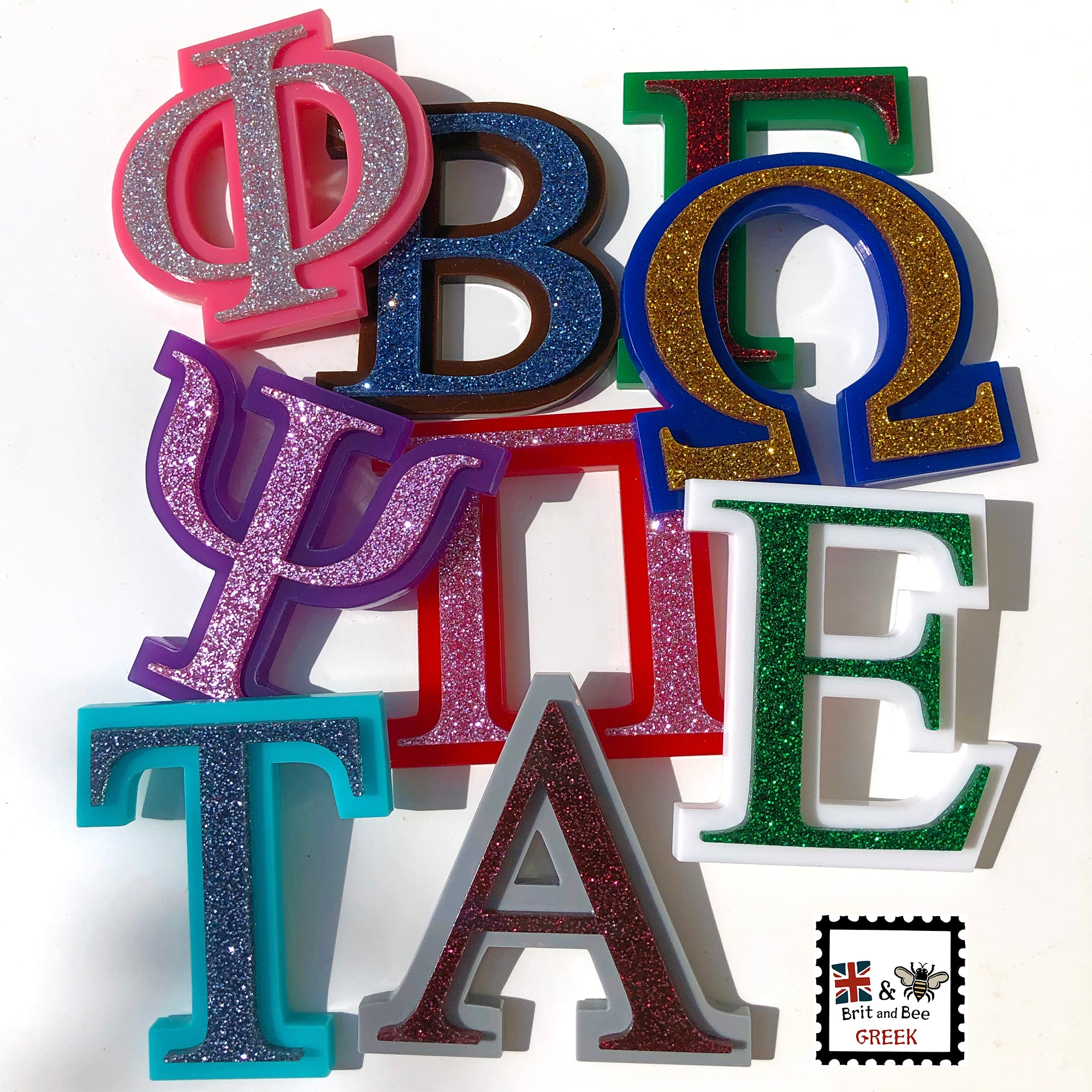 Glitter Acrylic Greek Letters | Brit and Bee