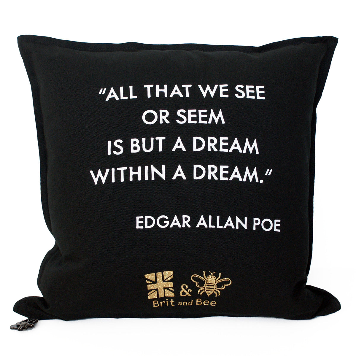 Brit and Bee Graduation Garland Throw Pillow BACK - Poe