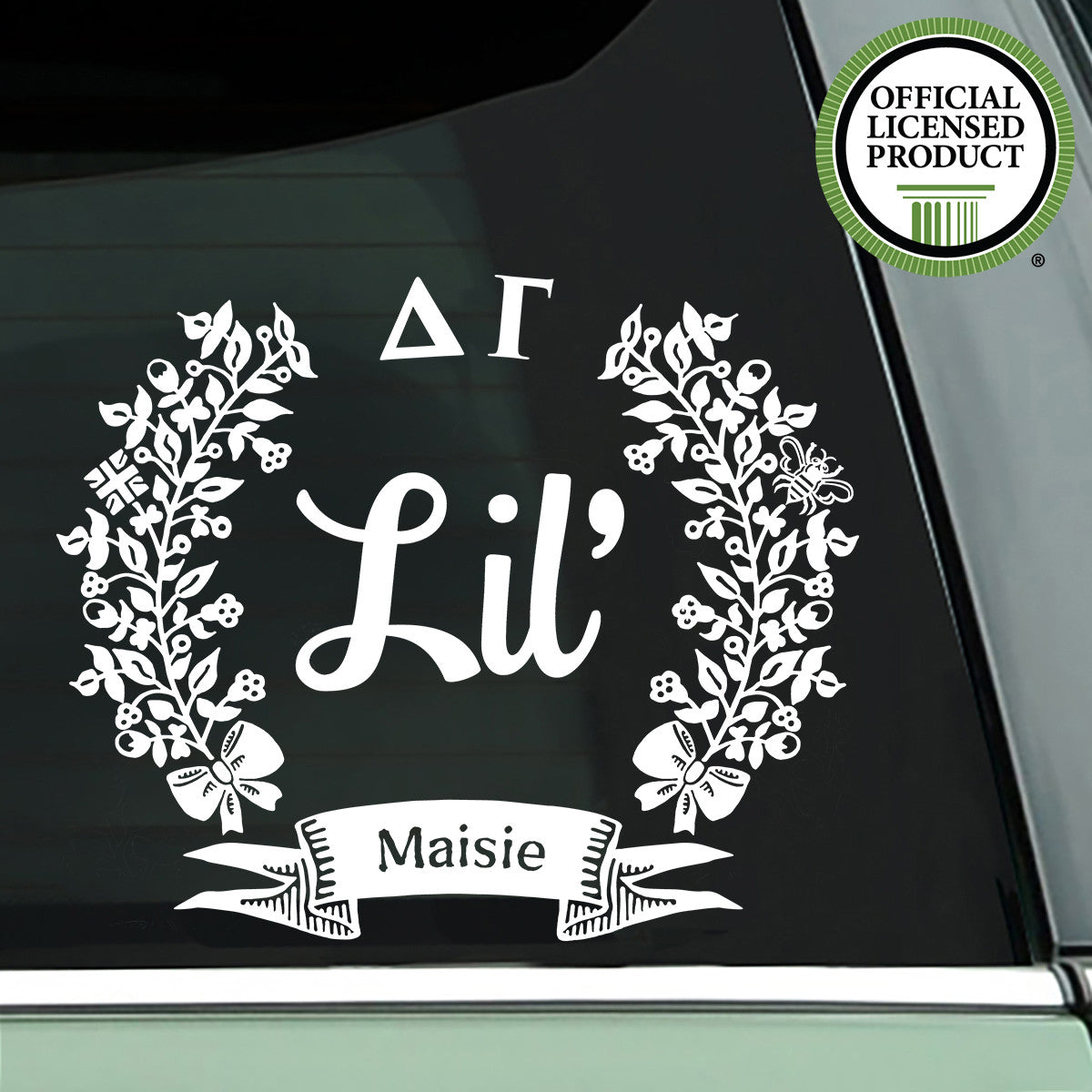 Brit and Bee Sorority Lil' Decal - Delta Gamma - White