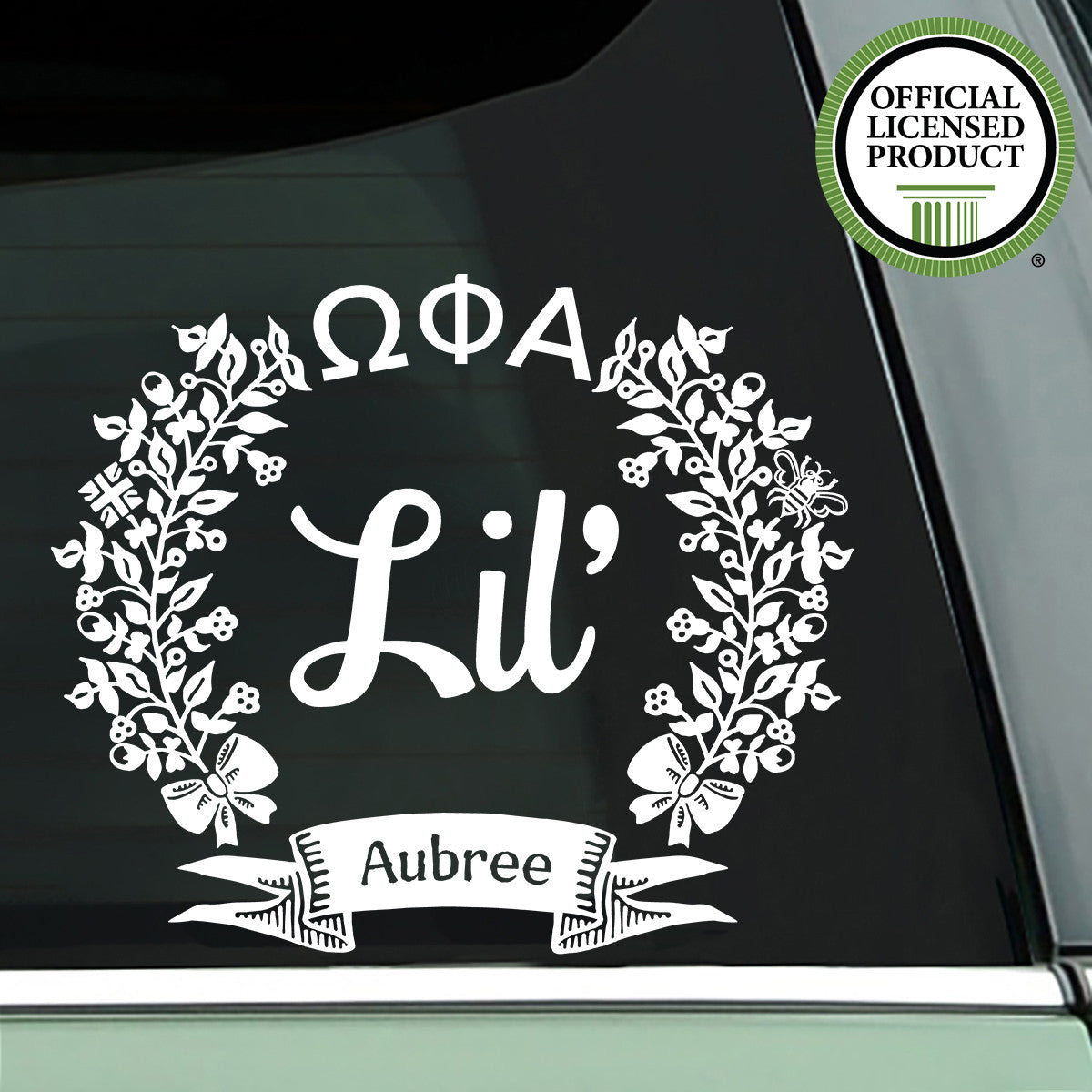 Brit and Bee Sorority Lil' Decal - Omega Phi Alpha - White