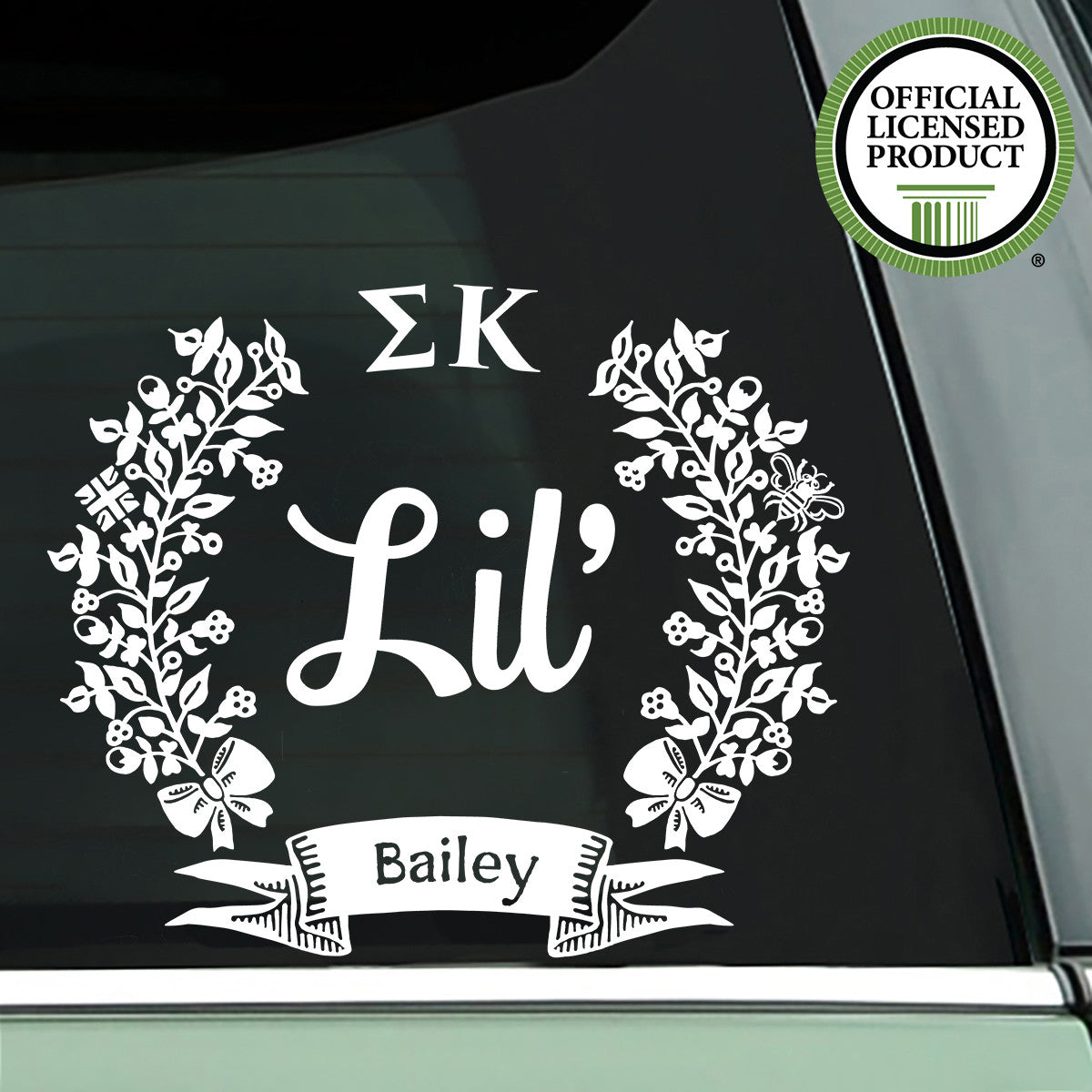 Brit and Bee Sorority Lil' Decal - Sigma Kappa - White