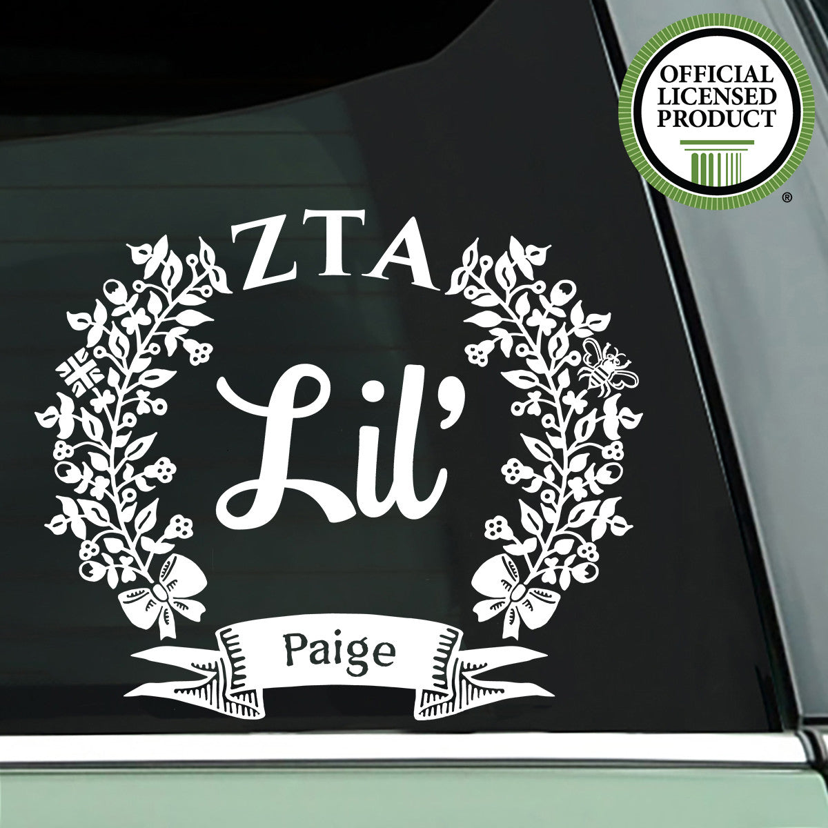 Brit and Bee Sorority Lil' Decal - Zeta Tau Alpha - White