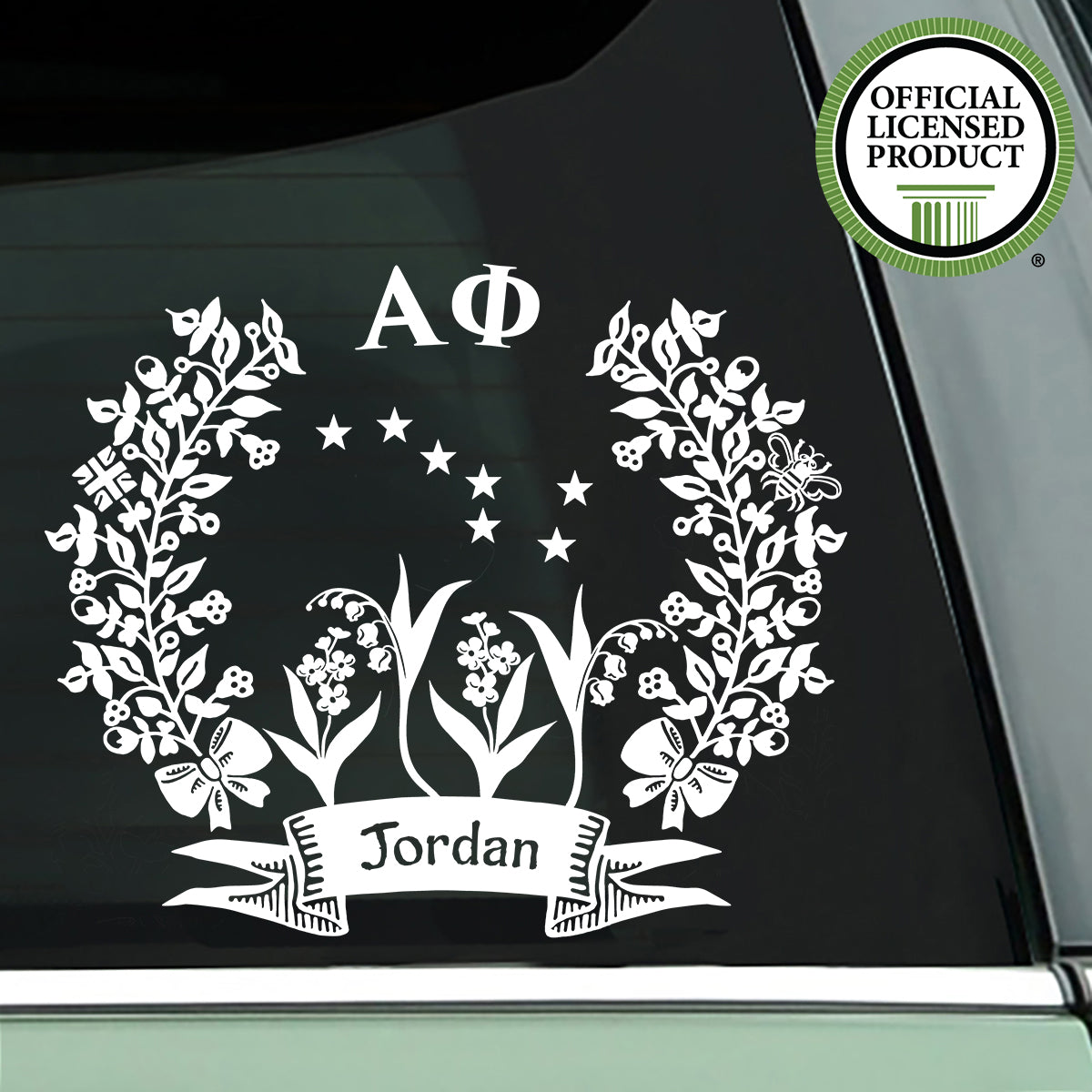 Brit and Bee Sorority Logo Decal - Alpha Phi - White