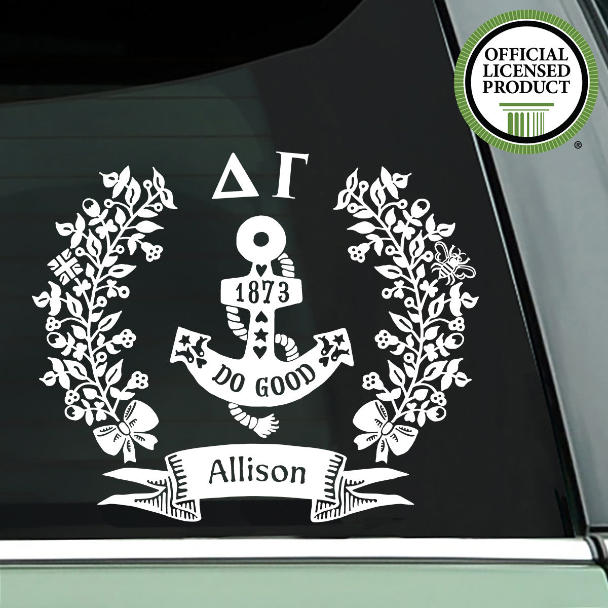 Brit and Bee Sorority Logo Decal - Delta Gamma - White