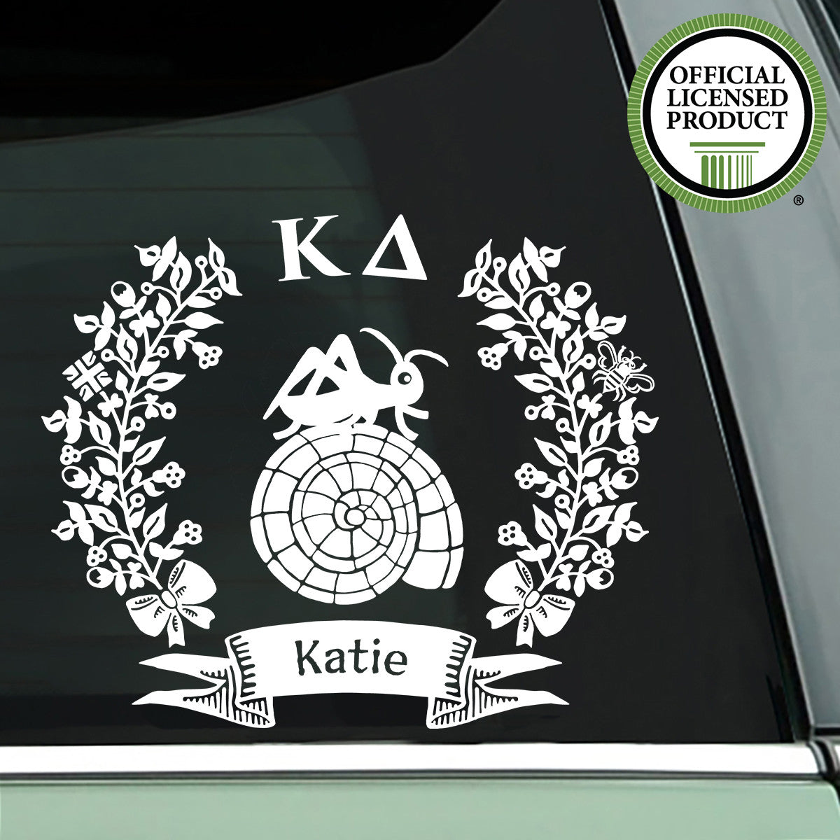 Brit and Bee Sorority Logo Decal - Kappa Delta - White
