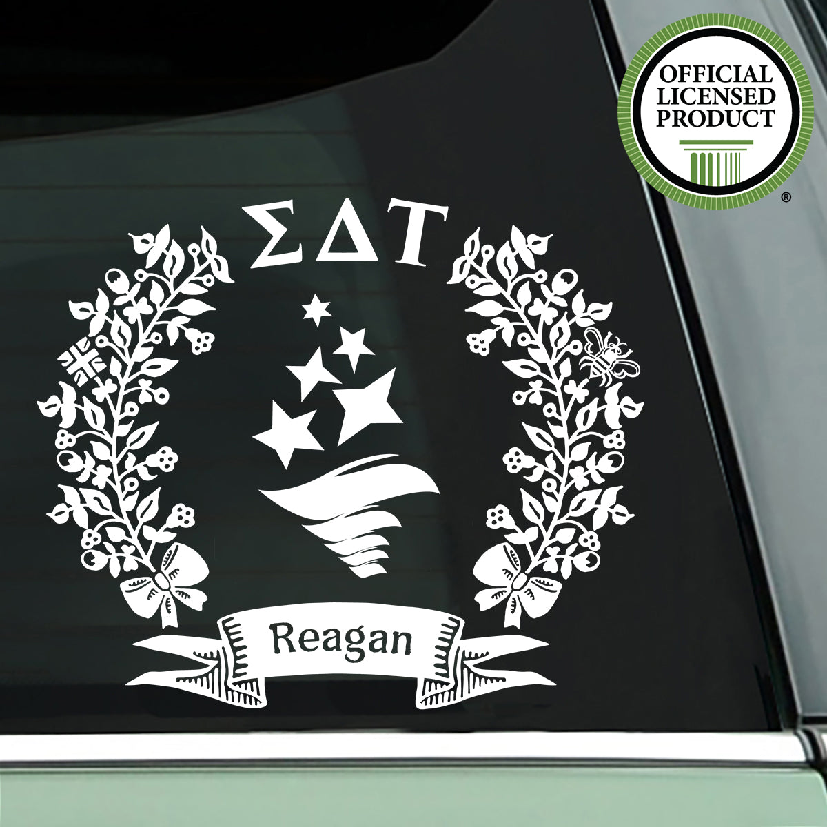 Brit and Bee Sorority Logo Decal - Sigma Delta Tau - White