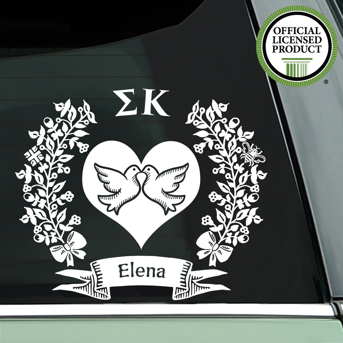 Brit and Bee Sorority Logo Decal - Sigma Kappa - White