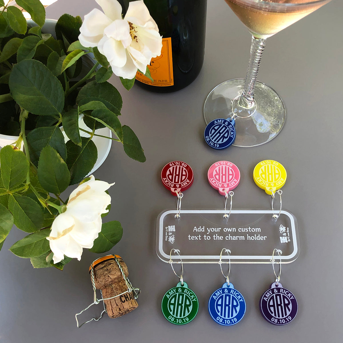 Circular Monogram Wine Charms - Set of 6 | Brit and Bee
