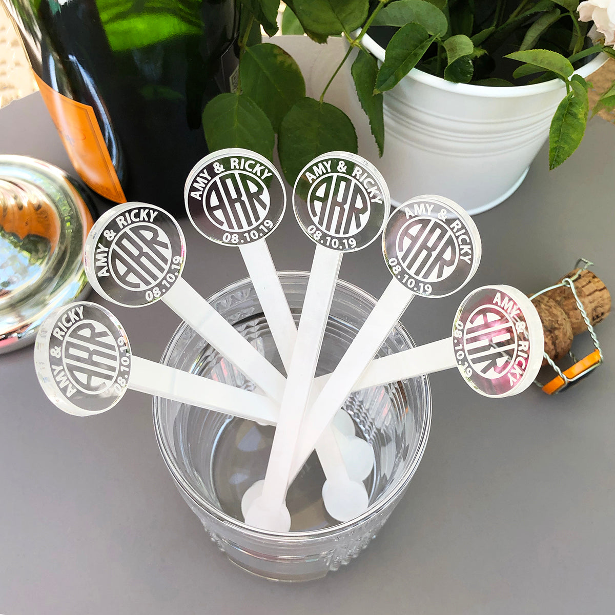 Circular Monogram Swizzle Sticks - Set of 6 | Brit and Bee