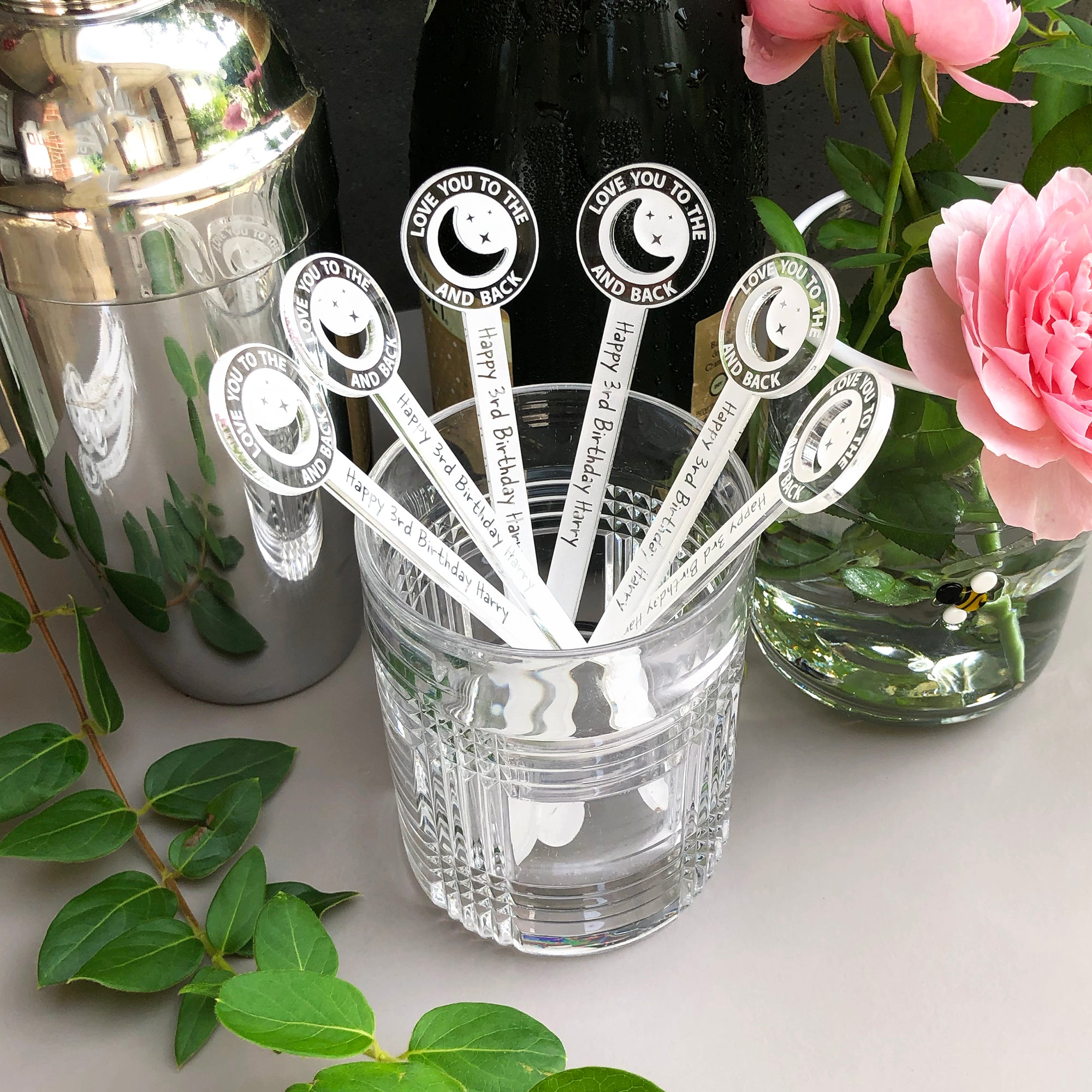 Love You To The Moon Swizzle Sticks | Brit and Bee