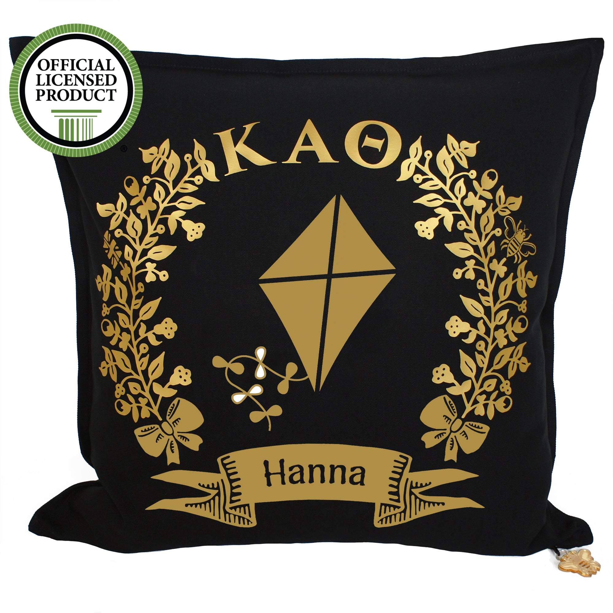 Brit and Bee Sorority Logo Throw Pillow - Kappa Alpha Theta