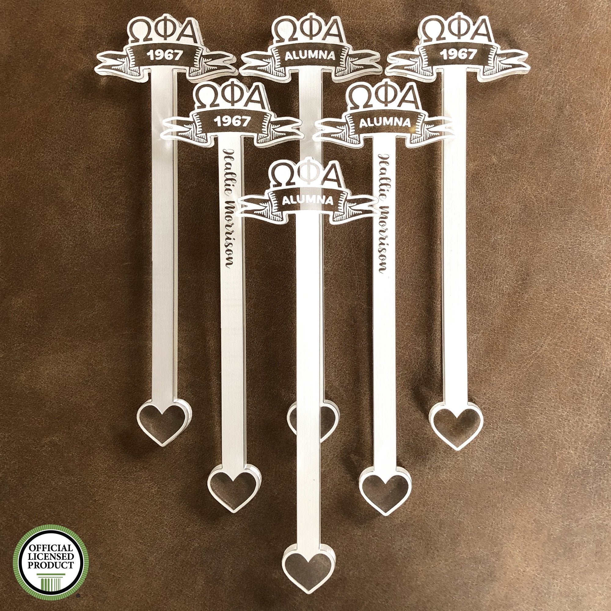 Omega Phi Alpha Swizzle Sticks | Brit and Bee