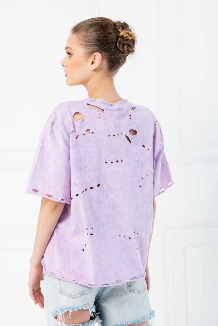 Distressed Pastel Acid Wash Boyfriend T-Shirt - Lilac