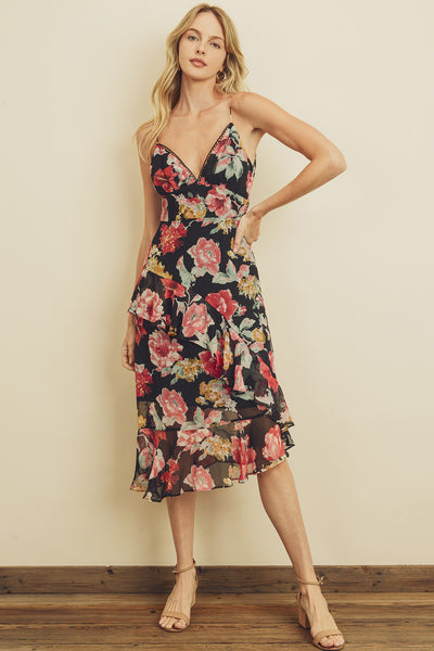 Twilight Floral Cami Chiffon Midi Dress