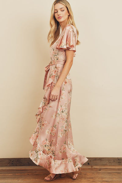 Ethereal Garden Wrap Maxi Gown Dress