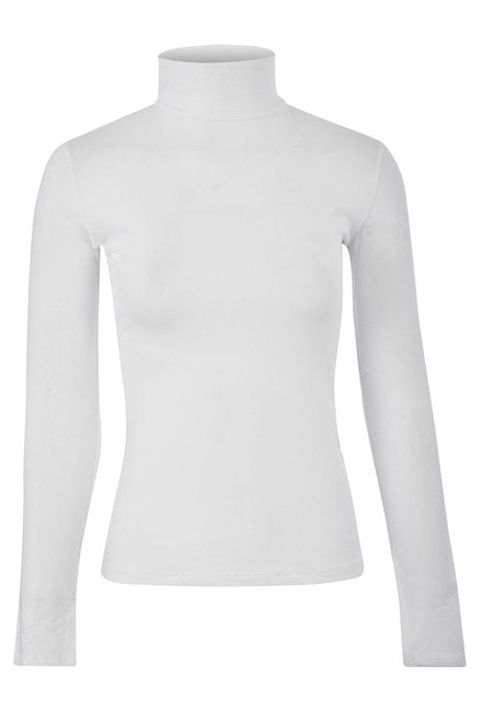 CLASSIC MOCK NECK STRETCH TOP - WHITE