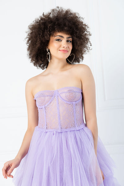 Sheer Lace Boned Bustier - Lilac