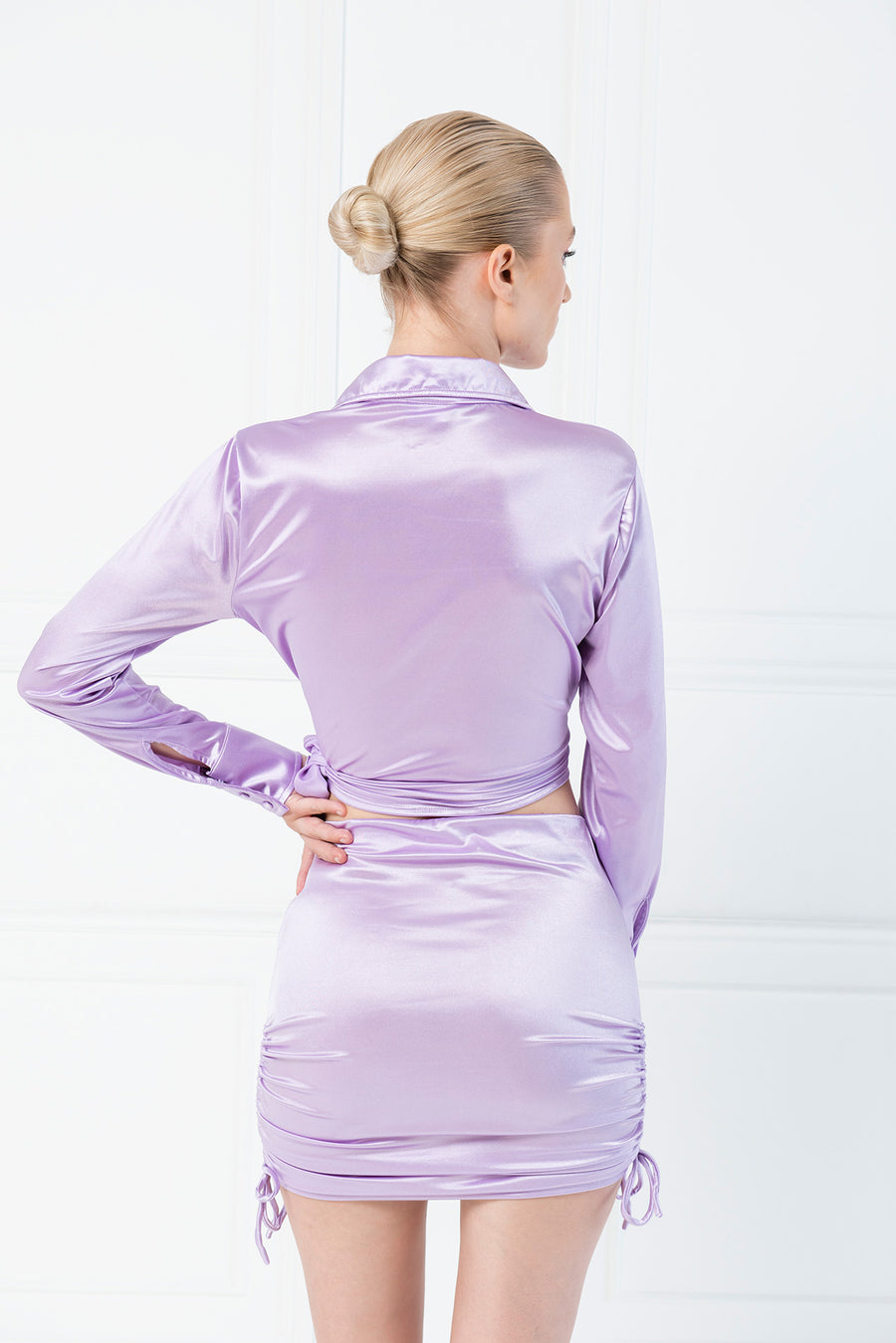 Disco Tie Front Satin Crop Top - Lilac
