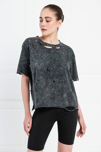 Distressed Pastel Acid Wash Boyfriend T-Shirt - Black