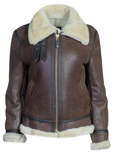 Schott - Sheepskin B-3 Bomber Jacket - Brown