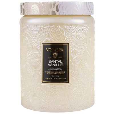 VOLUSPA - SANTAL VANILLE LARGE EMBOSSED GLASS JARCANDLE