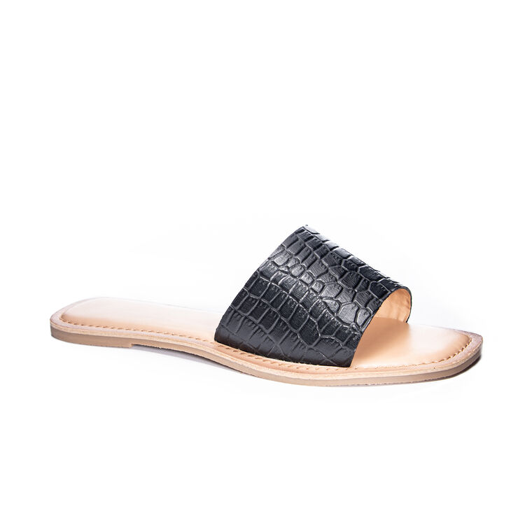 Chinese Laundry Regina Slide Sandals -  Black Croco