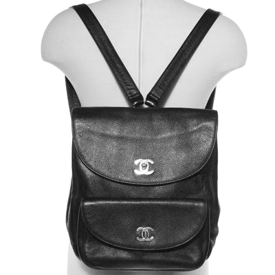 VTG CHANEL CC CAVIAR LEATHER CLASSIC FLAP BACKPACK