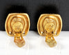Vtg 90s CHANEL Hexagon Rhinestone Gold Frame Clip On Earrings
