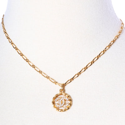 VTG CHANEL CC LOGO GOLD PLATED RHINESTONE CHAIN NECKLACE