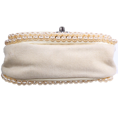 Vintage Chanel Pearl Classic Quilted Single Flap Canvas Crossbody Bag