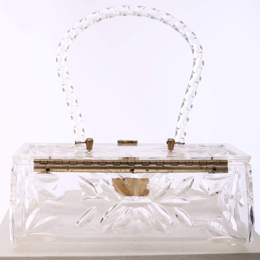 Vtg 1950s Clear Carved Lucite Box Bag