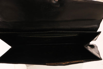 VINTAGE 1980'S BLACK CROC LEATHER OBLONG CLUTCH - Mint Market