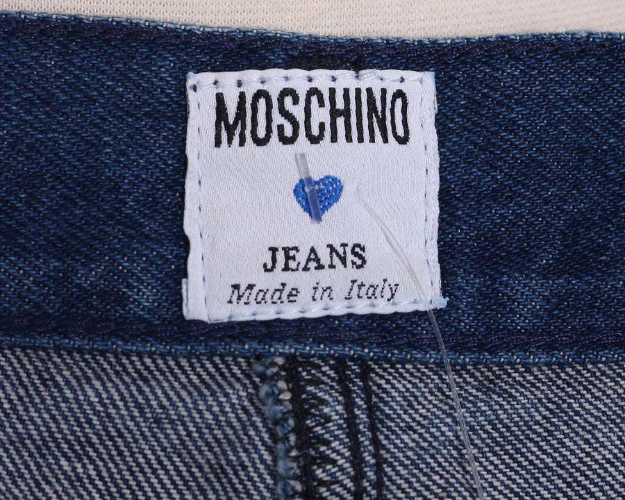 Vtg 90s MOSCHINO GROMMET Denim High Waisted High Rise Jean Mini Pencil Skirt S