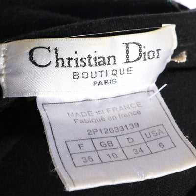 VTG 90S CHRISTIAN DIOR FLORAL EMROIDERED BLACK T-SHIRT