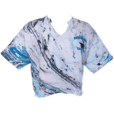 Vtg 90s MARBLE TIE DYE Drugs Distressed Ripped Cropped Crop Top S M