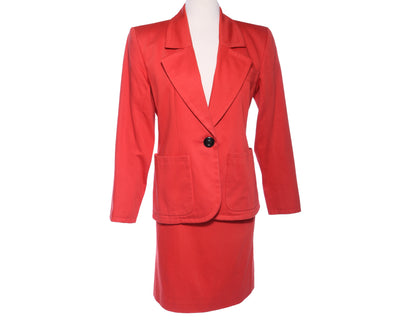 YVES SAINT LAURENT Vtg 2pc Ysl Power Shoulder Blazer Skirt Suit Set S M - Mint Market