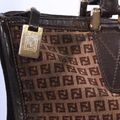 VTG FENDI MONOGRAM SUEDE SHOULDER BAG