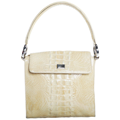 Vintage Gianfranco Ferre 90s Croc Embossed Structured Top Handle Leather Shoulder Bag