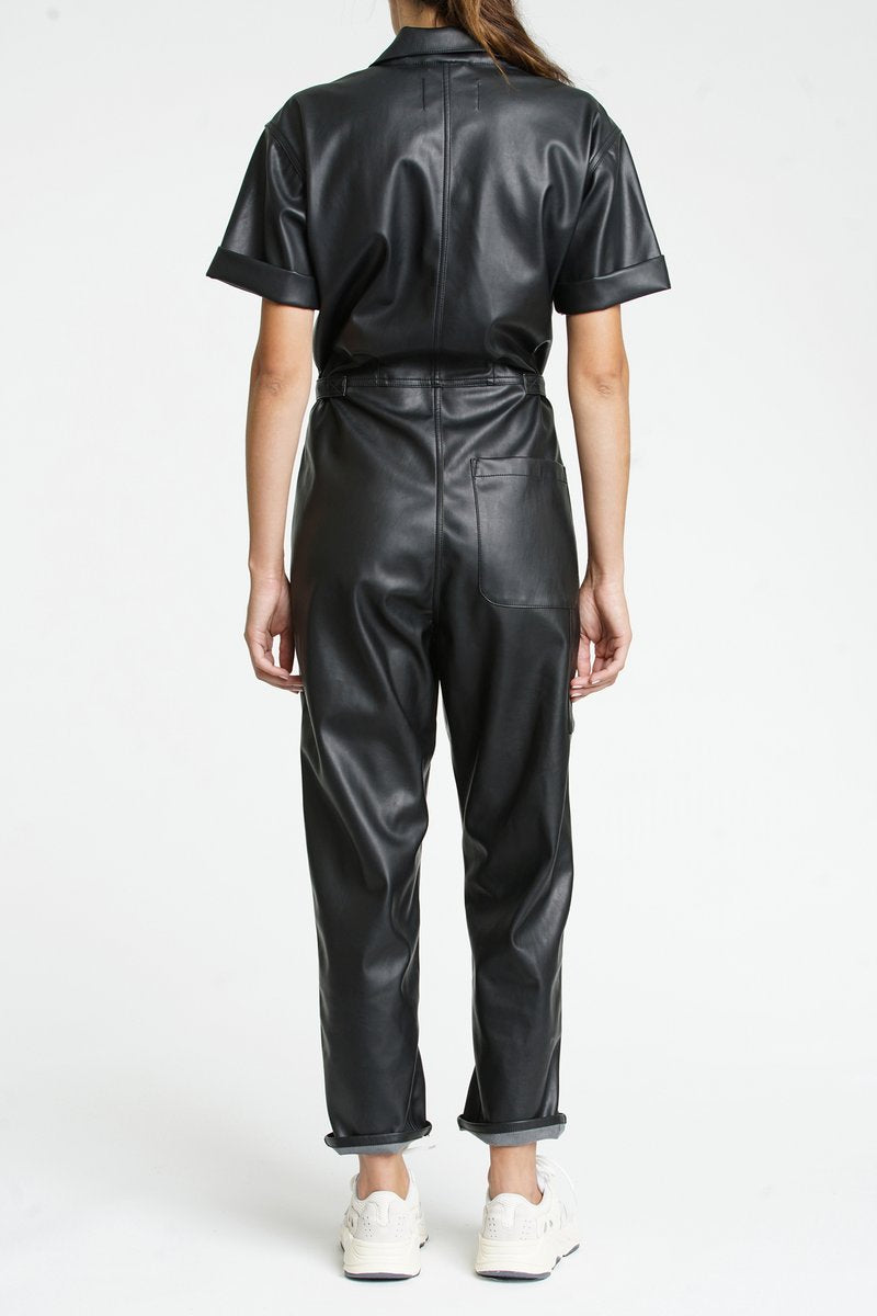 Pistola - Grover Vegan Leather Jumpsuit - Onyx