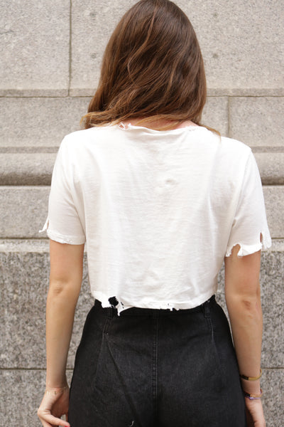DESTROYED CROP TOP - WHITE - Mint Market