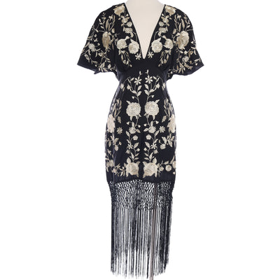 Seville Floral Embroidery Fringe Dress